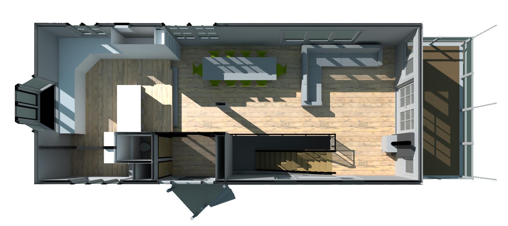 Doorsnede woonark Sixhaven MTB architecten